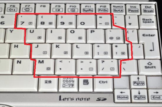 ノートパソコンのテンキー