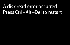 ディスプレイに「A disk read error occurred」と表示され、パソコンの処理が停止します。