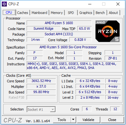 CPU-Zの起動画面