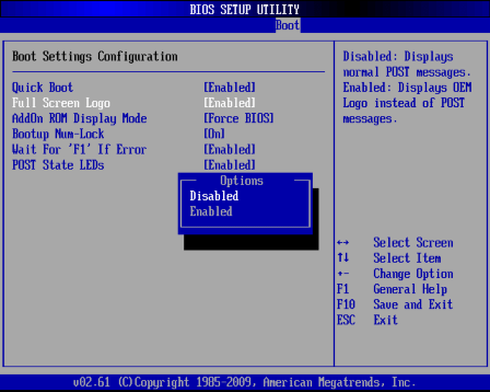 BIOSからPOST表示の設定をする