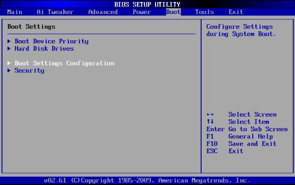 BIOSのBootメニュー(AMI)